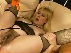 Blonde With A Soaking Wet Hairy Pussy