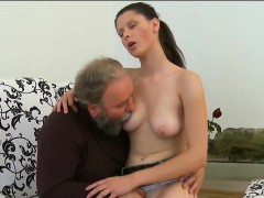 Steaming young seductress likes old cock in mouth and pussy
